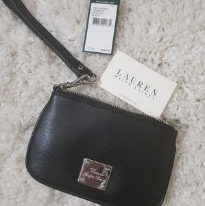 NEW Ralph Lauren Black Leather Wristlet NWT